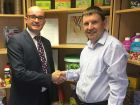 Daniel Wilkinson, Vitax's md - welcoming new joint area sales manager Julian Franklin.