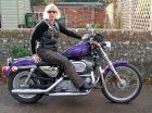 Pat Adams on her Harley-Davidson