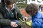 RHS gardener helps child with planting at RHS Wisley